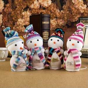 Wholesale Cute Snow Man Cover Apple Small Bags Christmas Dinner Table Party Decoration Supplies Xmas Gifts For Home Family Friend
