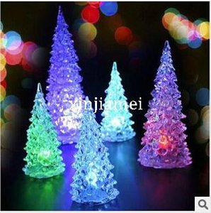 Wholesale cm Acrylic Color mixed Mini led light colorful night light Christmas tree