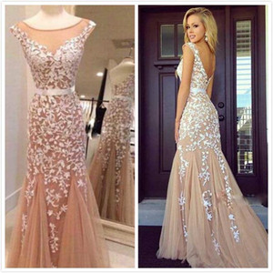 2016 Real Image Backless Prom Dresses Nude Tulle Lace Appliques Sheer Neck Custom Made Sexy Evening Party Pageant Dresse Cheap Free Shipping on Sale