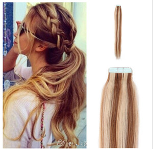 Wholesale price remy tape in human hair extensions 40pieces #6 613# cheap Brazilian tape hair extensions free shipping