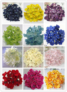 Wholesale 21COLORS DIA cm artificial hydrangea flower head diy wedding bouquet flowers head wreath garland home decoration
