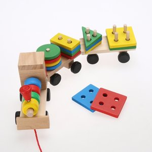 Wholesale Toddler Baby Wooden Stacking Train Block Toy Fun Vehicle Block Board Game Toy Wooden Educational Toy for Children Gift
