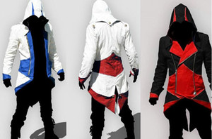 ingrosso assassin iii hoodie-Vendita calda Custom Assassins Creed III Connor Kenway Felpe con cappuccio e costumi