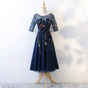 Wholesale Real Photo In Stok Navy Blue Tulle Scoop Neck Backless Lace Up Transparent Half Sleeves Embroidery Tea Length Dress robe de soiree