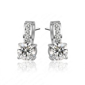 Wholesale New arrival Brass Cuff Earings with cubic zirconia prong set white gold plated ladies fashion zircon earrings