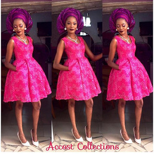Wholesale Nigerian Aso Ebi Style Arabic Ball Gown Evening Dresses Appliqued Scoop Bella Naija Evening Party Dresses Pink Bridesmaid Dresses Pocket