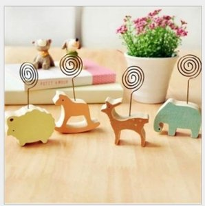 Wholesale New Cute Animal Wooden Place card holder for wedding favors Set of