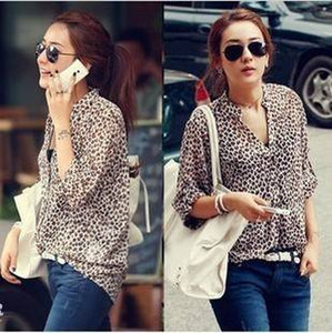 Wholesale 2016 NEW ARRIVAL Korean fashion ladies Leopard print Long Sleeve Blouse silk Chiffon Tops