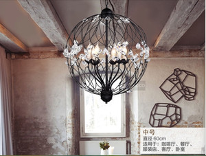Nordic Lamp Creative Iron pendant Lights E14 Iron Lamp With Incandescent Bulbs For Light Home Crystal Pendant Chandelier