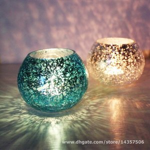 Wholesale Hand Made Mosaic Glass Tealight Holder Round Crackled Glass Candle Holders Red Blue Golden Siver Colors Wedding Party Favors