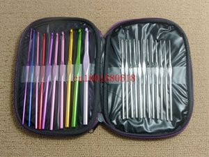 Wholesale stitches knitting craft case resale online - Fast shipping set Aluminum Crochet Hooks Knitting Needles Knit Weave Stitches Craft Case set