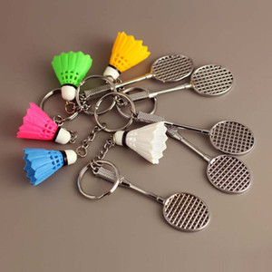 Wholesale badminton ring resale online - Mini D Badminton Keychain Colorful Decoration Badminton Key Chain Keyfob For Car Key Ring Bag Purse Sports Gifts Colors
