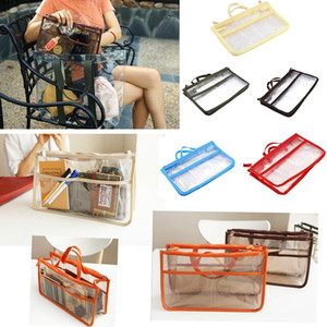 Wholesale storage Blue Red Orange Green transparent travel insert bags handbag Transparent durable bag