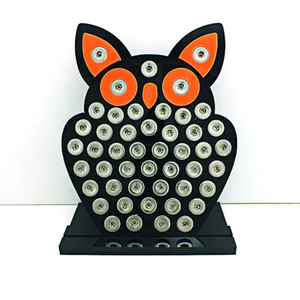 New Arrival 12mm Smaller Snap Button Display Stands Fashion Owl Black Acrylic Interchangeable Button Jewelry Display Board