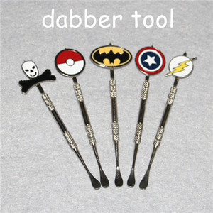 Wholesale New Arrival types Dabber tool with fashion deign stickers Batman Captain superhero Flash and Skull smoking wax Dab tool mm Jars Tool