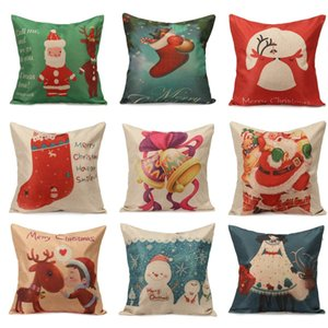 Wholesale-Christmas Series Home Textile Linen Cotton Pillow Cases Xmas Ambience Decorative Square Pillow Cover With Zipper