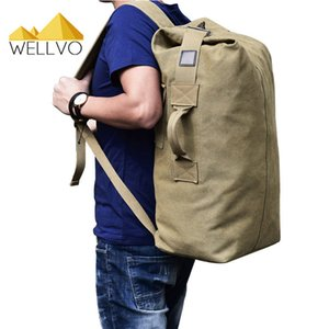 Wholesale Men Lage Travel Bag Army Bucket Backpack Multifunctional Military Canvas Backpacks Large Shoulder Bags Casual Back Pack C