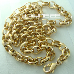 Wholesale jewel necklaces resale online - Men Women s Gold Filled Ring Link choice Length Necklace Jewel n237