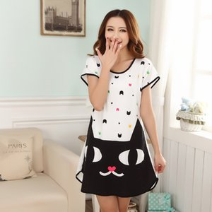 Wholesale w1025 NEW Summer Modal Sweet Black Cat Sleepwear Loungewear Women s Night Skirt Home Cloth