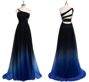Wholesale 2019 Ombre Gradiant Color Evening Dresses One shoulder Empire Waist Chiffon Black Royal Blue Designer Long Cheap Prom Formal Pageant Dress