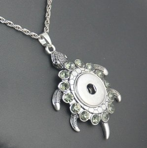 Wholesale Alloy Crystal Noosa Turtle metal snap necklace with chain pendant necklace for woman and man snap jewelry
