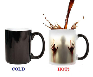 Wholesale fashion hot walking dead Zombie Coffee Mug cup Heat sensitive Magic Morphing Color Changing Tea Mug Transformation G158