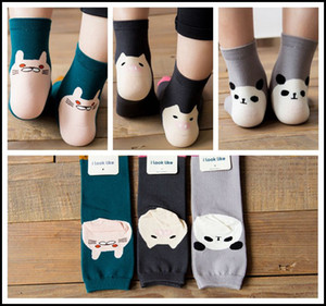 karikaturschwein großhandel-Prettybaby kinder D socken Erwachsene frauen mädchen cartoon panda pig cat beinlinge baumwolle tier low cut ped socke infant sox Pt0078
