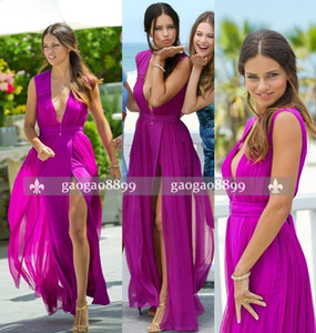 2019 pageant Beach Sexy Youthful Party Dresses A Line V Neck Sleeveless Floor Length Side Split Chiffon Celebrity Dresses Custom Made on Sale