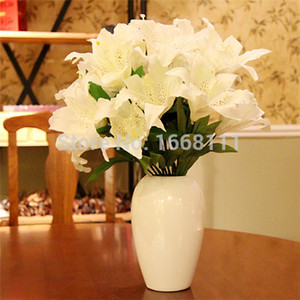 Wholesale Artificial Lily Bunch heads piece cm Lily Flower Fake Lilies Flowers for Wedding Bride Bouquets Party Home Decoration