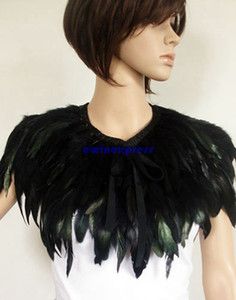 Wholesale Hand Made Feather Cape Shawl Scarf Performance Dress Costume Cosplay Black Green For Halloween Christmas Party