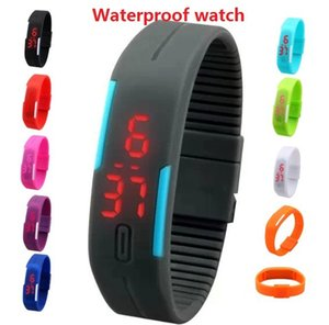 Wholesale Hot waterproof The keys Touch square dial Digital Jelly Silicone Bracelet LED Sports Wrist Watch fashion Women Men Watch
