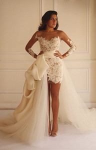 Wholesale Stunning Lace Tulle Crew Neck Long Sleeves Wedding Dresses Fashion Detachable Skirt Illusion Knee length Short Corset Wedding Gown with Sash
