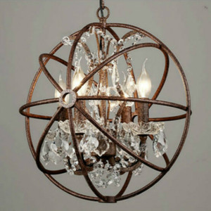 RH industrial Lighting Restoration Hardware Vintage Crystal Chandelier Pendant Lamp FOUCAULT IRON ORB CHANDELIER RUSTIC IRON Gyro Loft light