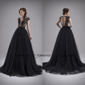 2019 Evening Prom Pageant Formal Wedding Guest Gowns With A Line Scoop Sexy Bare Back Black Tulle Appliqued Lace Covered Button New Long