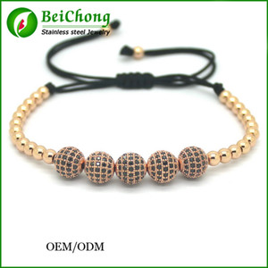 Wholesale BC Anil Arjandas Men Bracelet k Gold Plated mm Round Beads mm Micro CZ Stainless Steel Ball Bracelet Bangle BC