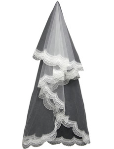 Wholesale Cheap In Stock T m The cathedral long bridal veil lace applique Simple Bridal Veils No comb