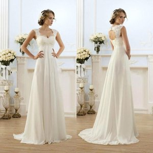 b968661f0388 2018 New Sexy Beach Empire Plus Size Maternity Wedding Dresses Cap Sleeve  Keyhole Lace Up Backless Chiffon Summer Pregnant Bridal Gowns