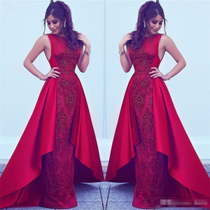 2018 Formal Red Evening Dresses with overskirt Dubai Arabic Styles Sheath Jewel Neck Beads Appliques Party Prom Gowns Celebrity Wears on Sale