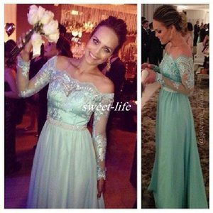 Mint Green Wedding Guest Formal Evening Dresses Off Shoulder Lace Long Sleeve Beaded Floor Length Chiffon 2016 Cheap Prom Bridesmaid Dresses