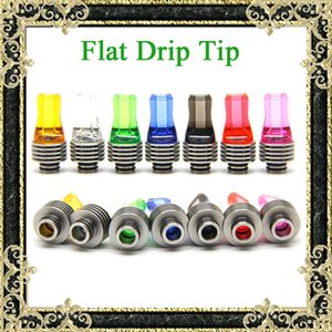 Wholesale heat sink free shipping for sale - Group buy Newest Threading Drip Tips Colorful Flat Mouth Drip Tips With Heat Sink Clear Colorful Flat Mouthpiece