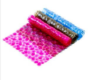 2016 New elliptical pebbles PVC bath mats size 36*75cm antislip massage mats colorful bathroom pierced safe pad with suction cups FHD14