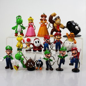 Super Mario keychain Bros Luigi Action Figures toy 18pcs set yoshi mario Gift 3-7cm retail free shipping