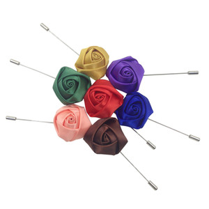 Handmade Rose brooch Silk Corsage for Men's Suit Miculitycolors Remantic Pins For Wedding Party Coat Wear 50 pcs NAR00