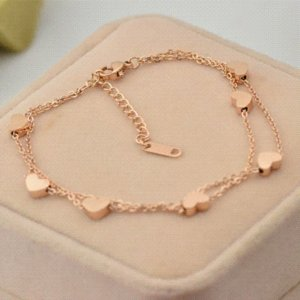Fashion Rose Gold Heart Anklets 316L Stainless Steel Love Hearts Anklets Bracelets Jewelry For Women wholesale