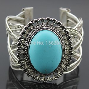 Girl Women's Retro StyleTibetan Vintage Silver Hollow Laciness Design Big Oval Turquoise Bracelets Cuff Bangle Gift MB127