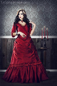 Wholesale Gothic Victorian Cosplay Costumes With V Neck Half Sleeves Ruffles Draped Burgundy Red Ball Gown Holloween Prom Party Dresses Evening Wear