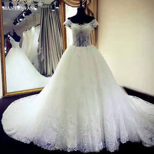 Wholesale 2020 Modest Wedding Dresses with Capped Sleeves Tiered tulle Taffeta Bridal Gowns Simple Sweetheart Plus Size Wedding Gown