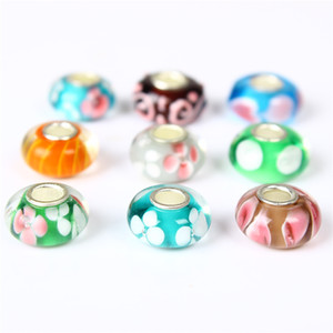 Wholesale murano glass beads for pandora bracelets resale online - Mix Murano Glass Charm Bead Silver Plated Fashion Women Jewelry European Style For Pandora Bracelet PANMB107
