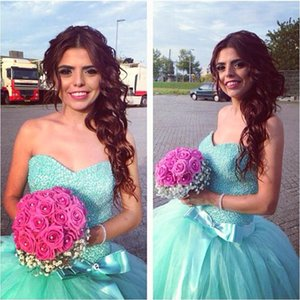 Wholesale Mint Green Prom Dresses Sweetheart Neck Beads Crystals Bow Ball Gown Party Prom Gowns Custom Made