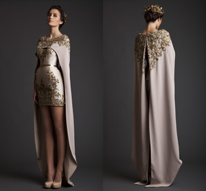 2017 Vintage Krikor Jabotian Evening Dresses Sheath Long Separate Cape Embroidery Satin Short Champagne Prom Dresses on Sale